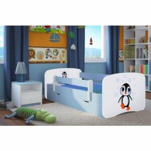 Łóżko chłopięce z materacem happy 2x mix 80×180 – niebieskie