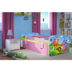 Łóżko dla dziewczynki z materacem happy 2x mix 80×180 – różowe