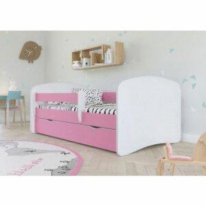 Łóżko dla dziewczynki z materacem happy 2x 70×140 – różowe