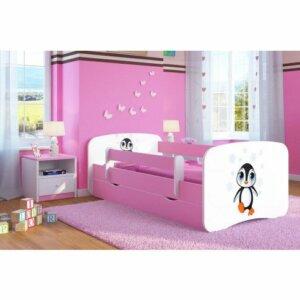 Łóżko dziewczęce z barierką happy 2x mix 80×180 – różowe
