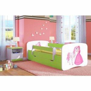 Łóżko dziecięce ze stelażem happy 2x mix 70×140 – zielone
