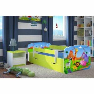 Łóżko dziecięce z materacem happy 2x mix 80×180 – zielone